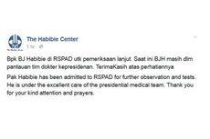 Habibie Center Sebut BJ Habibie Jalani Perawatan di RSPAD