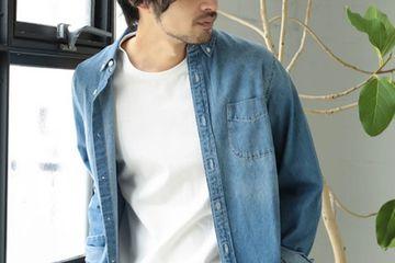 Button-down denim shirt/CRAFT STANDARD BOUTIQUE