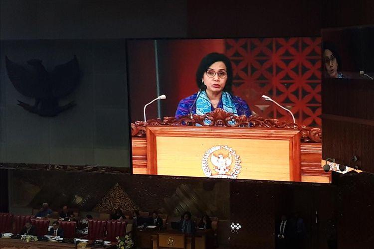 Menteri Keuangan Sri Mulyani Indrawati saat memaparkan kerangka ekonomi makro dan pokok-pokok kebijakan fiskal Tahun Anggaran 2020 di Jakarta, Senin (20/5/2019).
