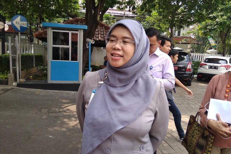 Direktur Departemen Pengelolaan Uang BI Erna Wijayanti saat menjelaskan kembali normalnya kas keliling BI di Jakarta, Senin (27/5/2019)
