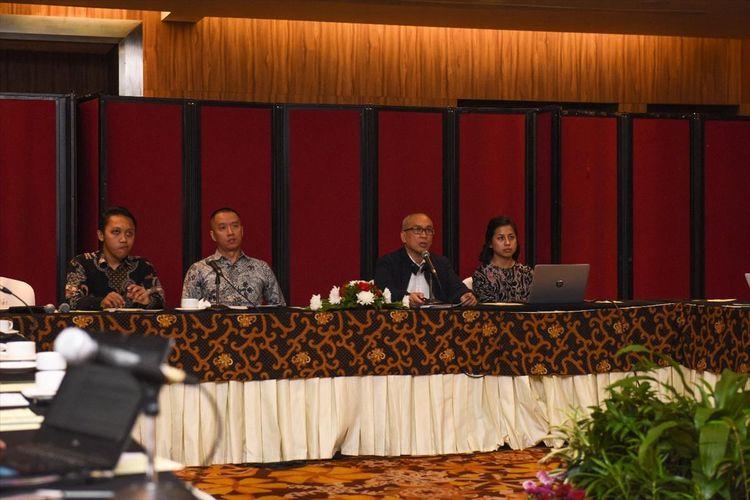 Deputi Bidang Koordinasi Percepatan Infrastruktur dan Pengembangan Wilayah Kementerian Koordinator bidang Perekonomian Wahyu Utomo dalam pemaparan PSN selama 3 tahun sejak tahun 2016 di Jakarta, Senin (27/5/2019).