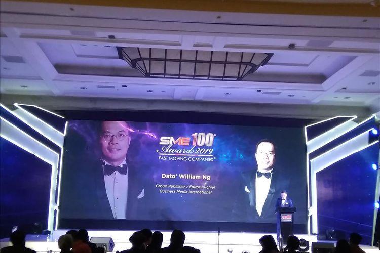 William Ng dalam sambutannya tentang pertumbuhan pendapatan UKM dapat meningkatkan ekonomi negara dalam acara SME 100 Awards di Hotel JW Marriott Jakarta, Jumat (14/6/2019).