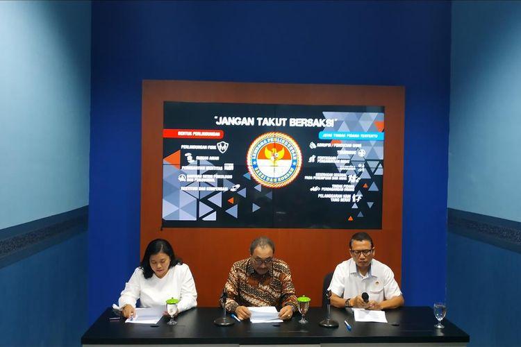 Konferensi pers Lembaga Perlindungan Saksi dan Korban (LPSK) menanggapi permintaan perlindungan saksi sengketa Pilpres 2019, Jumat (14/6/2019).