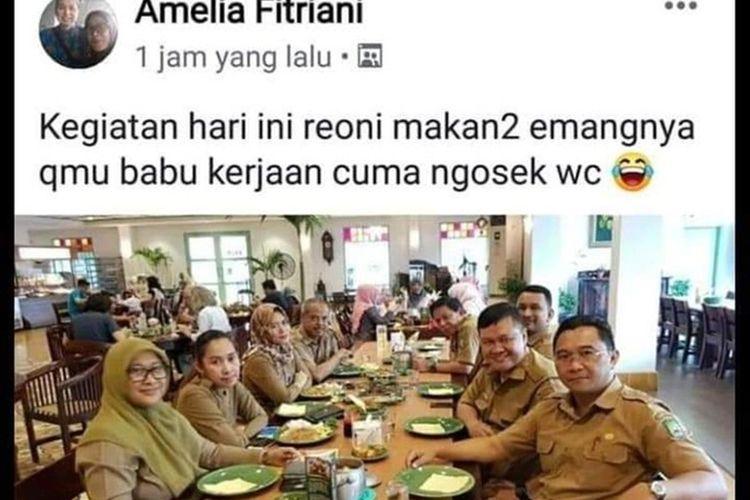 postingan Facebook ASN Tangerang bernama Amelia Fitriani hina