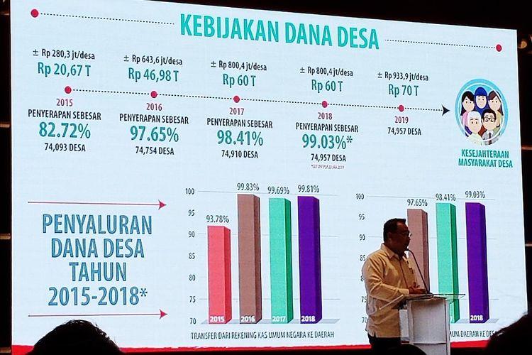 Menteri Desa, Pembangunan Daerah Tertinggal, dan Transmigrasi Eko Putro Sandjojo dalam acara Kick Off Desa Sejahtera Astra di Jakarta, Selasa (25/6/2019).
