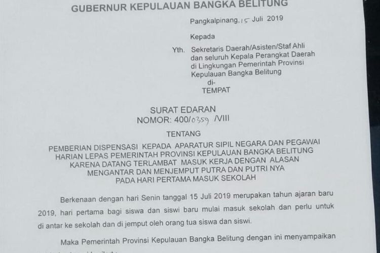 Surat edaran Pemprov Kepulauan Bangka Belitung terkait dispensasi bagi pegawai yang mengantar anak sekolah.