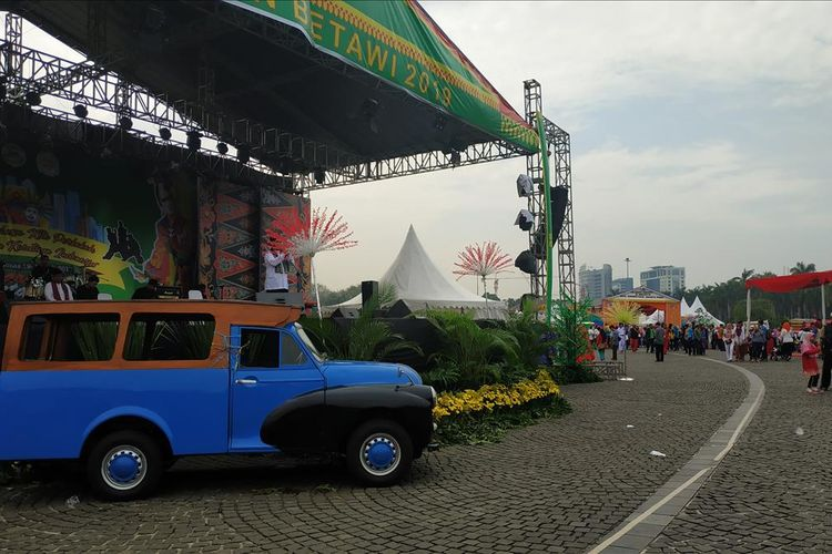 Panggung utama acara Lebaran Betawi 2019 di Monas, Jakarta Pusat, Sabtu (20/7/2019).