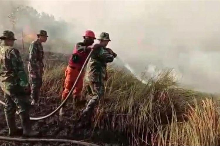 Petugas TNI dan Manggala Agni berjibaku memadamkan api karhutla di Kelurahan Tirta Siak, Kecamatan Payung Sekaki, Pekanbaru, Riau, Sabtu (20/7/2019).