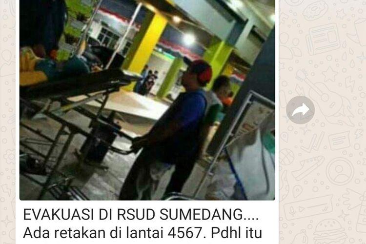 Hoaks gedung lantai 4, 5, 6, 7 RSUD Sumedang retak-retak pasca-gempa Banten dipastikan hoaks, Jumat (2/8/2019) malam. Screenshoot AAM AMINULLAH/KOMPAS.com