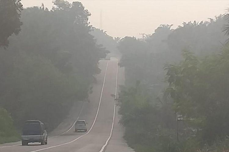 Kabut asap karhutla terlihat pekat di ruas jalam lintas Pelalawan-Pekanbaru, Riau, Sabtu (3/8/2019).