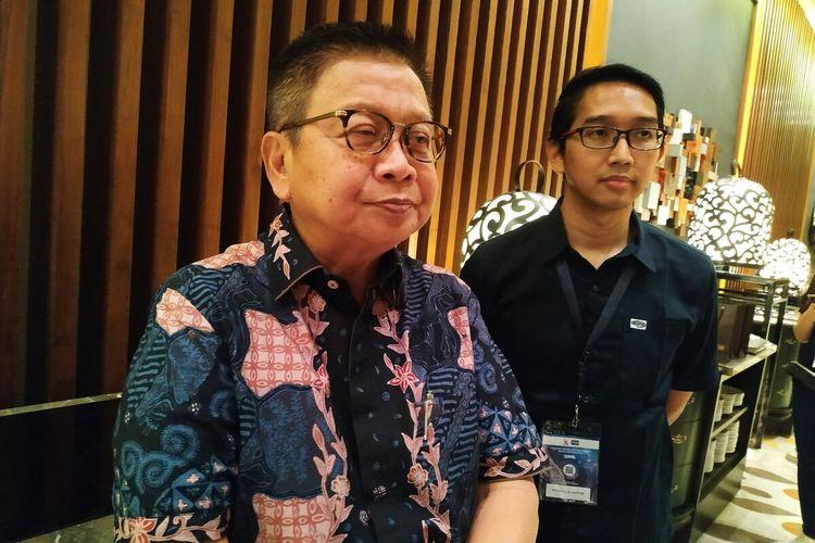 Direktur Utama PT. Rintis Sejahtera Iwan memberikan keterangan seusai sosialisasi penerapan QR Code Indonesia Standard (QRIS) kepada ratusan mitranya di Pullman Hotel Thamrin, Jakarta, Rabu, (14/8/2019).