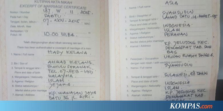 Pasangan Warga Indonesia Malaysia Ini Menikah Pakai Buku Nikah Palsu