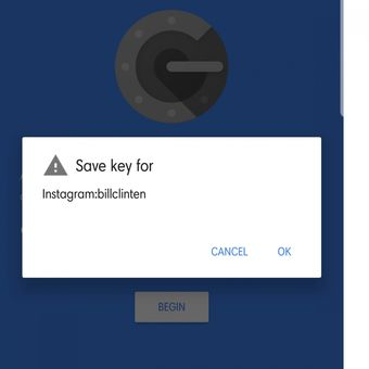 Piluhan menambah aplikasi Instagram di Google Authenticator.