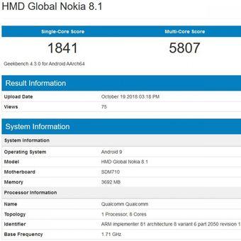 Bocoran screenshot Geekbench yang menampakkan nama Nokia 8.1.(Geekbench)