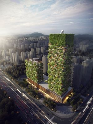 Gedung ini merupakan proyek ketiga karya Stefano Boeri Architects setelah bangunan seruapa dibangun di Milan dan Lausanne.