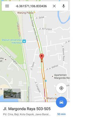Tahun lalu, nama Jalan Margonda di Google Maps sempat berubah menjadi Jalan Telaga Jambu Raya, sebelum dikembalikan menjadi Jalan Margonda.