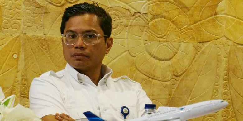 Direktur Utama Garuda Indonesia Pahala N Mansury. Gambar diambil Kantor Aerofood Catering Services, Tangerang, Rabu (25/10/2017).