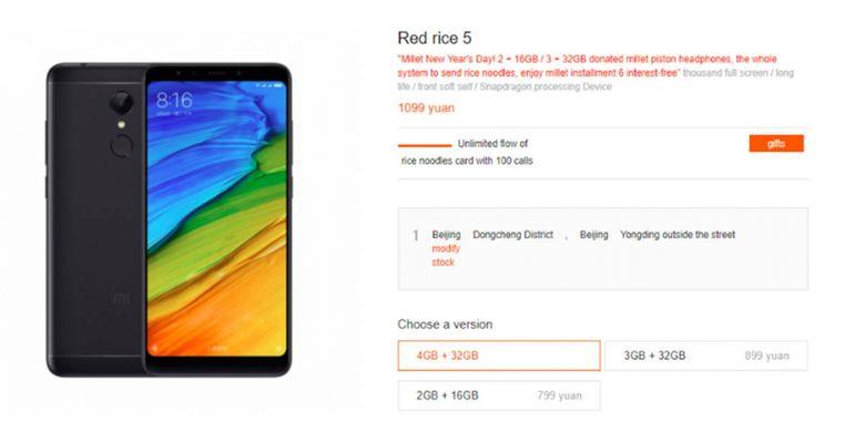 Penampakan Redmi 5 dengan RAM 4GB di toko online Xiaomi di China.