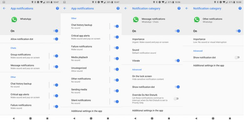 (Tampilan setting 10 kanal notifikasi di WhatsApp versi beta. (Android Police))