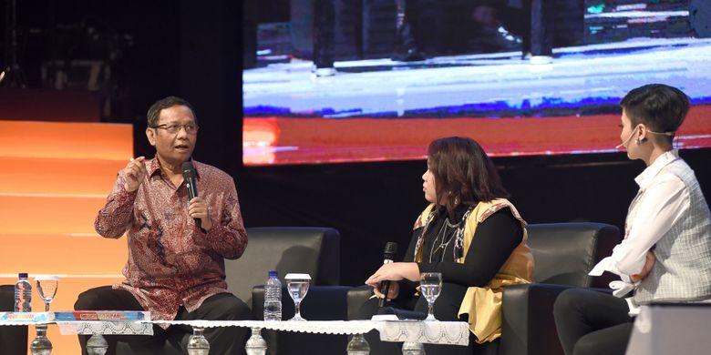 Mantan Ketua Mahkamah Konstitusi Mohammad Mahfud M.D pada diskusi Pancasila di Zamanku yang diselenggarakan di Yogyakarta, Sabtu (3/2/2018).