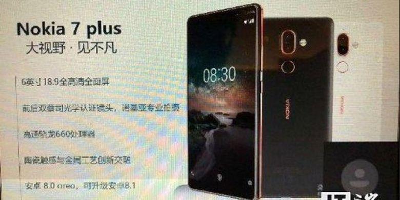 Bocoran slide yang memperlihatkan spesifikasi dan tampilan Nokia 7 Plus.