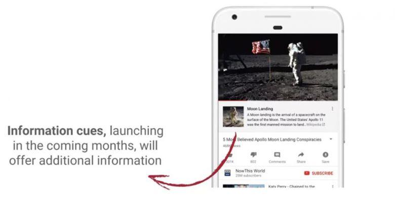 Information Cue berupa tautan ke artikel Wikipedia yang akan ditambahkan ke video YouTube dengan konten berbau teori konspirasi.