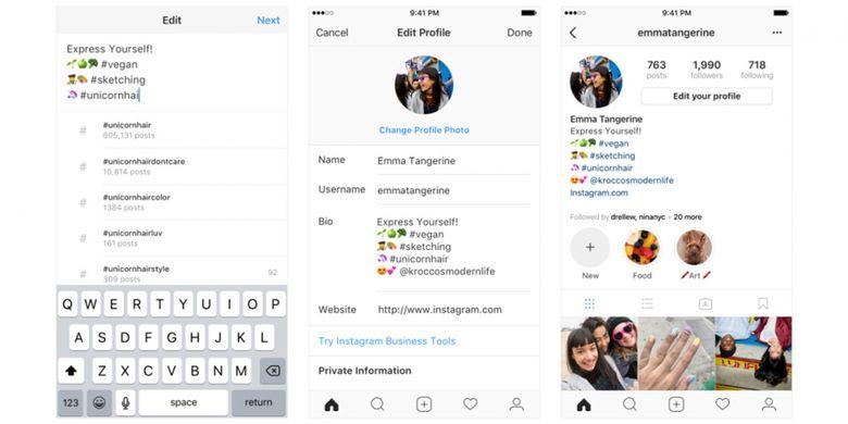 Instagram Perkenalkan Hashtag Dan Tautan Profil Di