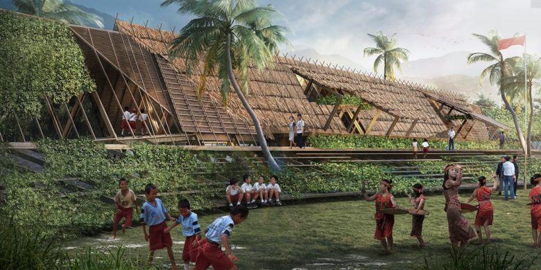 Ilustrasi digital karya firma arsitek Asia Raya Studio dengan judul Sungai Bening Foto Asia Raya Studio.