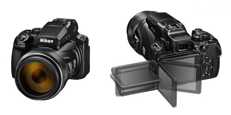 Tampak depan dan belakang Nikon Coolpix P1000.