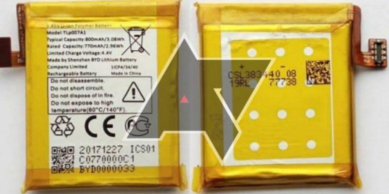 Bocoran foto baterai Palm Pepito yang disebut hanya berkapasitas 800 mAh.