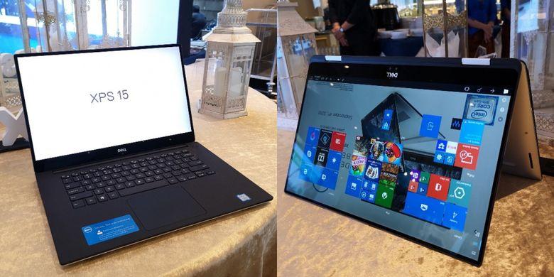 Dell XPS 15 9570 (kiri) dengan faktor bentuk laptop clamshell konvensional dan Dell XPS 15 2-in-1 9575 dengan faktor bentuk convertible.