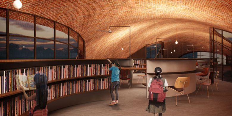 Desainnya yang melengkung dan menyentuh tanah, membuat atap ini bisa dinaiki siapa saja.