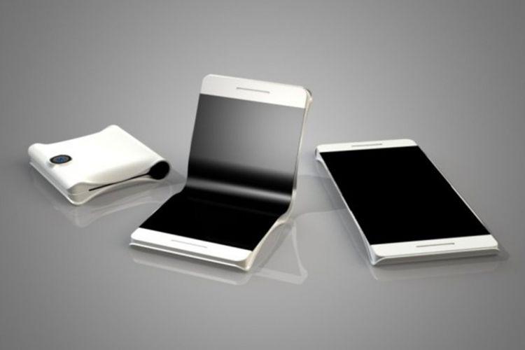 Ilustrasi ponsel dengan layar lipat.