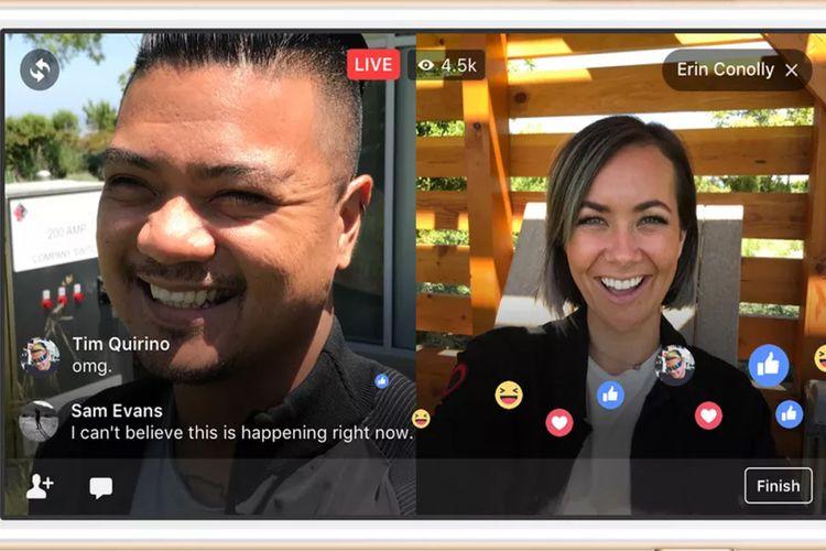 Facebook Live bisa dipakai siaran langsung oleh dua akun berbeda.