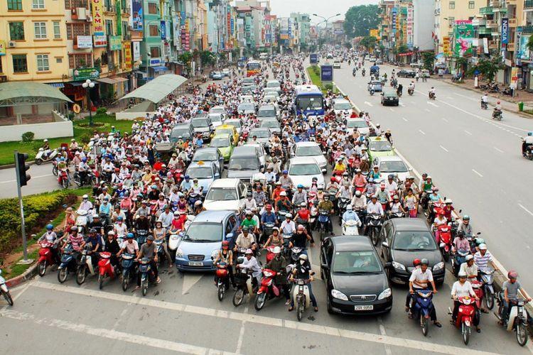 Ilustrasi lalu lintas kota Hanoi.