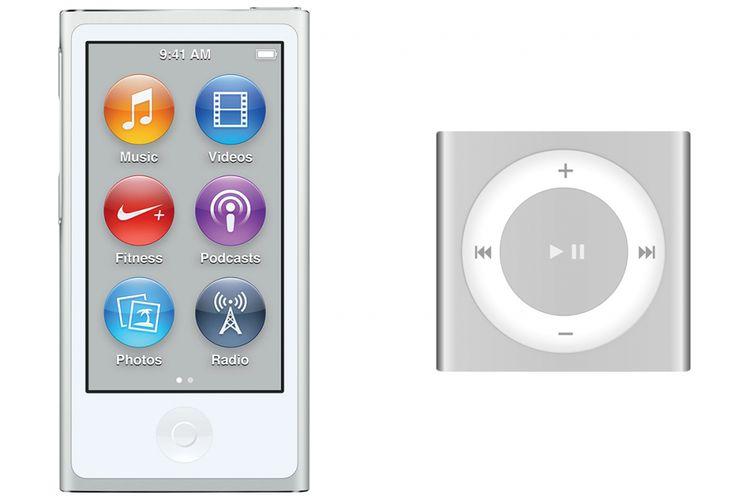 iPod Nano generasi ke-7 (kiri) dan iPod Shuffle generasi ke-4.