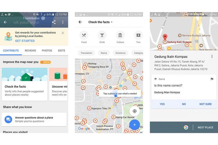 Lewat menu Your Contributions, pengguna Google Maps bisa membantu komunitas (berpartisipasi dalam crowdsourcing) dengan memberikan review, foto, maupun memverifikasi informasi tentang beragam tempat (ditandai dengan tanda plus dalam lingkaran kecil di peta) yang masih perlu dipastikan kebenarannya.
