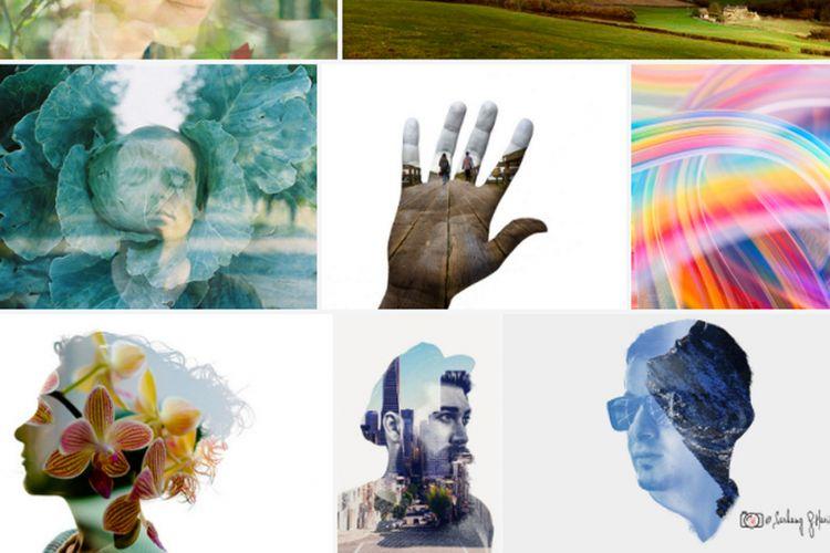 Sejumlah contoh double exposure yang ditampilkan di situs berbagi foto Flickr