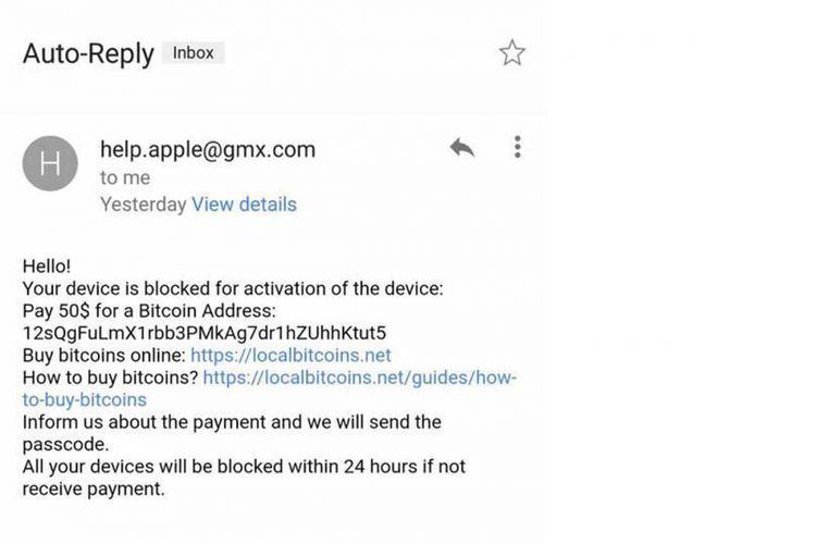 E-mail balasan dari hacker, isinya meminta bayaran untuk buka sistem