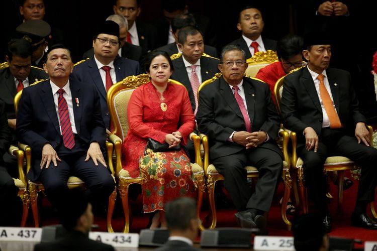 Sejumlah Menteri kabinet kerja saat hadir dalam sidang tahunan Majelis Permusyawaratan Rakyat Republik Indonesia Tahun 2017 di Kompleks Parlemen, Senayan, Jakarta, Rabu (16/8/2017). Presiden Joko Widodo menyampaikan pidato, yakni pidato kenegaraan dalam rangka Hari Ulang Tahun RI ke 72.