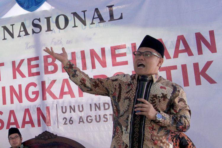 Ketua Umum Partai Kebangkitan Bangsa (PKB) Muhaimin Iskandar saat menghadiri Seminar Nasional Merajut Kebhinekaan dalam Bingkai Politik Kebangsaan, di Universitas Nahdlatul Ulama Indonesia, Bogor, Jawa Barat, Sabtu (26/8/2017).