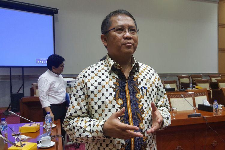 Menkominfo Rudiantara usai rapat bersama Komisi I DPR RI, Senin (28/8/2017) di Gedung Nusantara II, Komplek DPR/MPR RI Senayan, Jakarta.