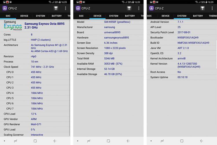 Screenshot CPU-Z memperlihatkan Galaxy Note 8 memakai chip octa core Exynos 8895 dengan frekuensi maksimum 2,3 GHz, berikut RAM 6 GB. Sistem operasi yang dijalankan adalah Android 7.1.1 Nougat.