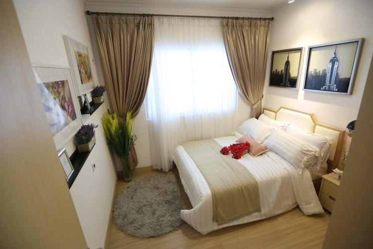 Foto contoh desain interior yang akan digunakan apartemen kota baru Meikarta PT Lippo Cikarang Tbk saat show unit di Kantor Marketing Meikarta, Kabupaten Bekasi, Jawa Barat, Senin (4/09/2017). Pada tahap pertama, akan dibangun 200 ribu unit apartemen yang siap huni pada akhir tahun 2018.