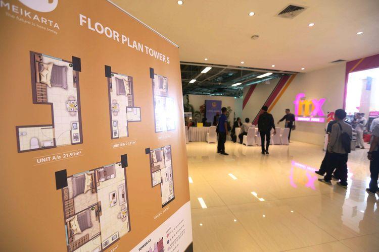 Suasana show unit proyek pembangunan Kota Baru Meikarta di Kantor Marketing Meikarta, Kabupaten Bekasi, Jawa Barat, Senin (4/09/2017). Pada tahap pertama, akan dibangun 200 ribu unit apartemen yang siap huni pada akhir tahun 2018.