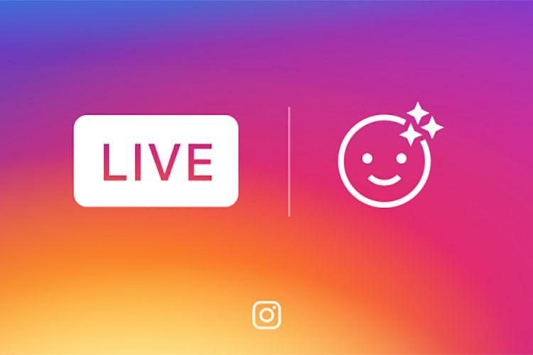 Ilustrasi face filter live streaming di Instagram.