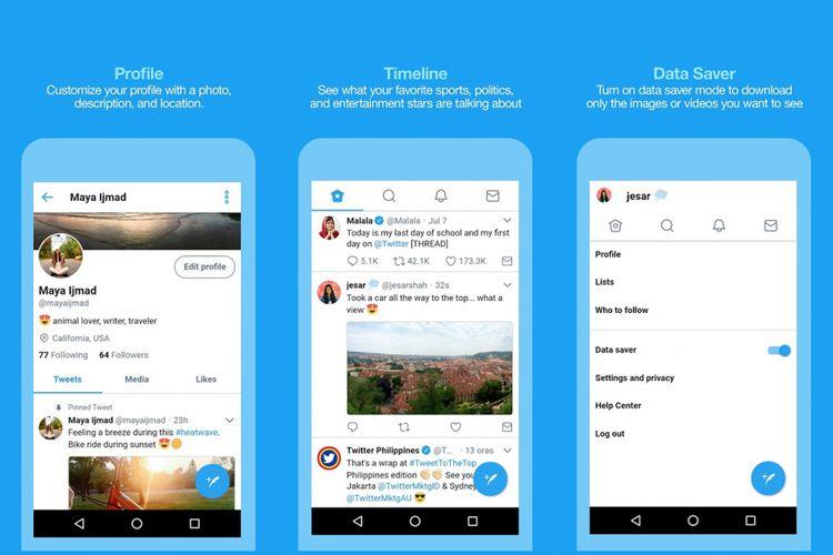 Tampilan aplikasi Twitter versi Lite di Filipina.