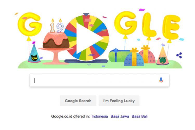 Doodle ulang tahun ke-19 Google dengan roda keberuntungan berisi 19 doodle permainan.