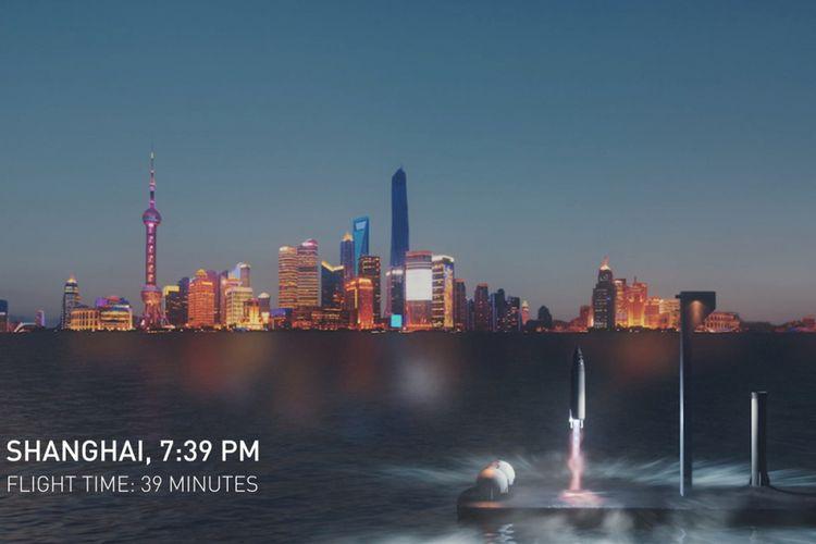 Ilustrasi roket BFR bikinan SpaceX saat dipakai mengangkut penumpang di Bumi.