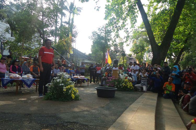 Gubernur DKI Jakarta Djarot Saiful Hidayat di Taman Situ Lembang, Jakarta Pusat, Sabtu (7/10/2017).